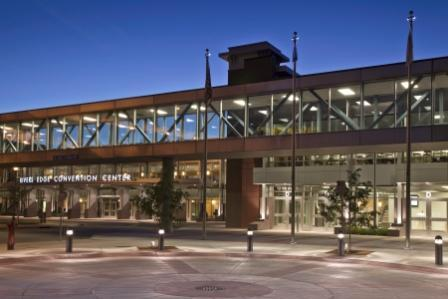 Night view of the front of the River's Edge Convention Center